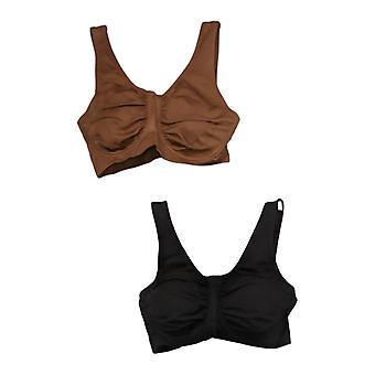 """Rhonda Shear """"Perfect Match"""" 2-Pack Underwire Bra Brown 749424"""