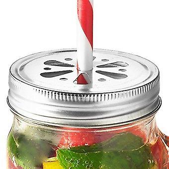 Drinking Jar Flower Lids - Pack of 6 Jar Lids, Straw Hole Lids for Drinking Jars