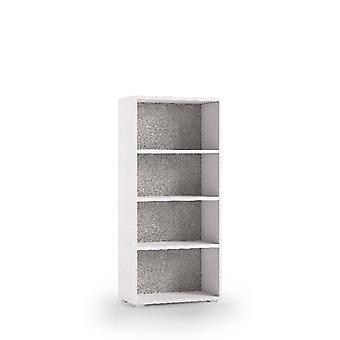 Libreria Terra , Colore Bianco, Grigio in Truciolare Melaminico, L60xP30xA130 cm