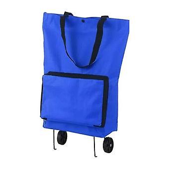 (כחול) אני לא יכול לעשות את זה. עגלת משיכה מתקפלת שקית קניות ביתית עגלת נסיעות קניות שקית מתקפלת
