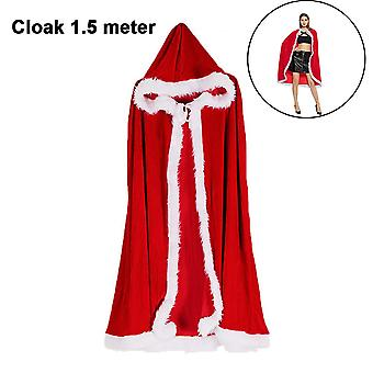 Hooded Cloak Long Cape For Halloween Christmas Cosplay Costume, 1m