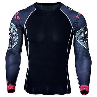 Menn Termisk Kompresjon Armour Base Layer Topp Sport Gym Muscle T-skjorte
