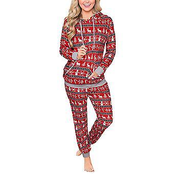Women Christmas Print Tracksuit Set Long Sleeve Tops + Pants Trousers Loungewear