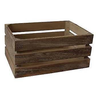 Caisse de rangement en bois latté léger effet chêne