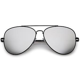Classic Metal Aviator Sunglasses Slim Arms Straight Crossbar Mirrored Flat Lens 59mm