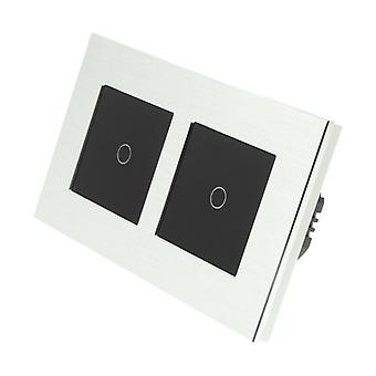 I LumoS Silver Brushed Aluminium Double Frame 2 Gang 2 Way WIFI/4G Remote & Dimmer Touch LED Light Switch Black Insert