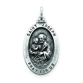 925 Sterling Silver Solid Satin Engravable Antique finish St. Joseph Medal Charm