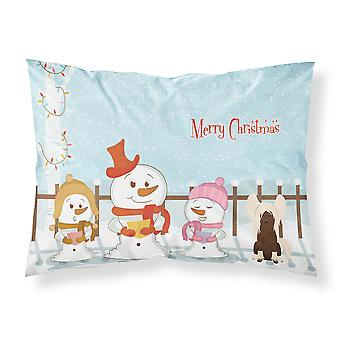 Merry Christmas Carolers Chinese Crested Cream Fabric Standard Pillowcase