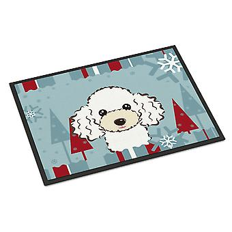 Winter Holiday White Poodle Indoor or Outdoor Mat 24x36