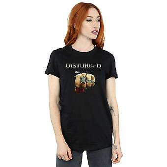 Disturbed Women's Fist Logo Boyfriend Fit T-Shirt