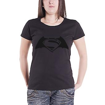 Official BatmanT Shirt Embossed Logo Official Womens New Black Skinny Fit
