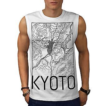 Kyoto-Stadtplan Mode Männer WhiteSleeveless T-shirt | Wellcoda