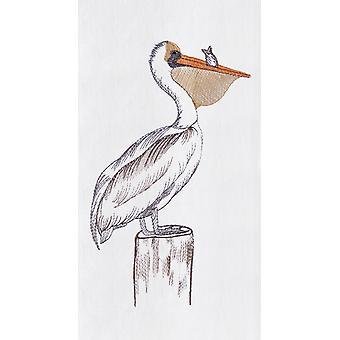 Coastal Vogel Pelikan am Pier häufen Mehl Sack Küche Handtuch 27 Zoll