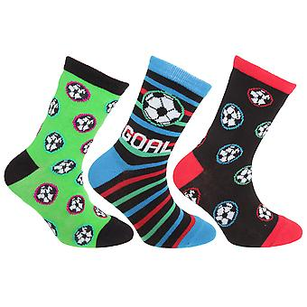 Childrens/Kids Cotton Rich Football Pattern Socks (3 Pairs)