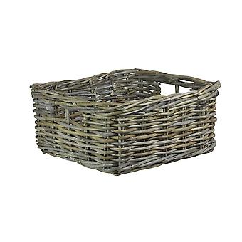 Square Grey Rattan Storage Tray