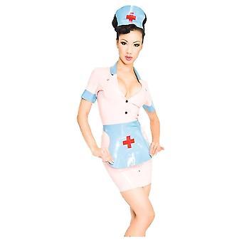Nach Westen gebunden Nymphe Krankenschwester Latex Rubber Uniform.