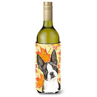 Fall Leaves Boston Terrier Wine Bottle Beverge Insulator Hugger