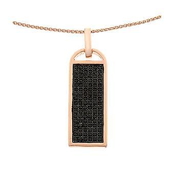 Orphelia Silver 925 hänge med kedja Roseplated med svart zirkonium ZH-6045