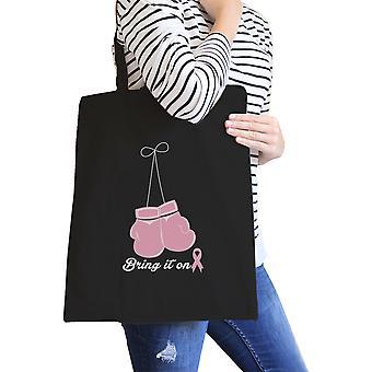 乳房癌ピンク手袋キャンバス トートバッグ ギフト彼女のためにそれをもたらす