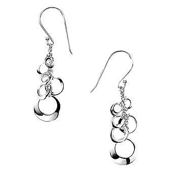 Elemente offenen Multi Silberscheibe Cluster Tropfen Ohrringe - Silber