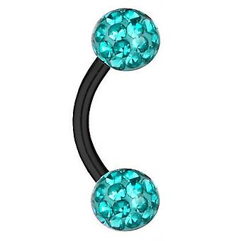 Curved Barbell Black Titanium Thickness 1,2mm, Multi Crystal Ball Aqua | 6-12 mm