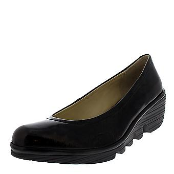 Womens Fly London Pump Luxor Black Ballerina Work Office Wedge Heel Shoes
