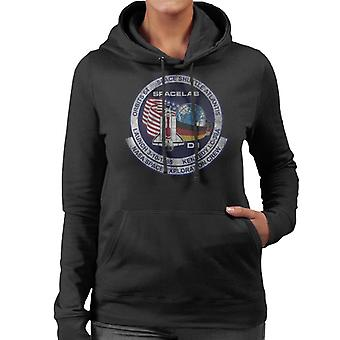 NASA STS 61 A Challenger Mission Badge Distressed Women's Hooded Sweatshirt