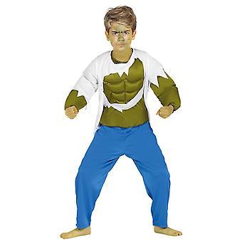 Pojkar grön Strongman Hulk superhjälte Fancy Dress kostym