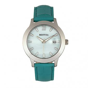 Bertha Eden Mother-Of-Pearl Leather-Band Watch w/Date - Turquoise/Silver
