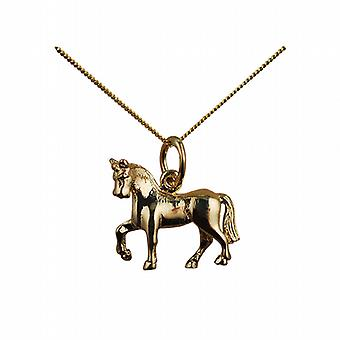 9ct Gold 13x15 unsaddled Horse Pendant with a curb Chain 20 inches