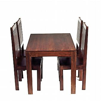 Phoenix Dark Mango 4 Seater Dining Set With Wooden Chairs