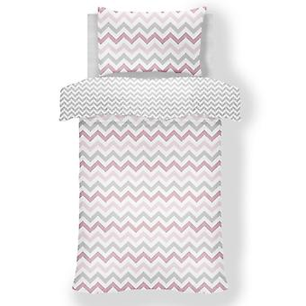 Metro Chevron Zig Zag Grey / Pink 4 in 1 Junior Bedding Bundle Set