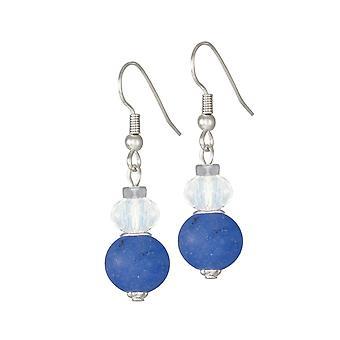 Eternal Collection Rhapsody Blue Jade And Crystal Drop Pierced Earrings