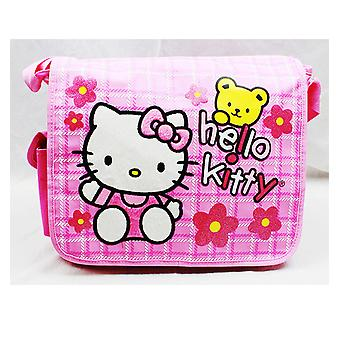 Messenger Bag - Hello Kitty - Teddy Bear w/Flowers New School Book Bag 81611