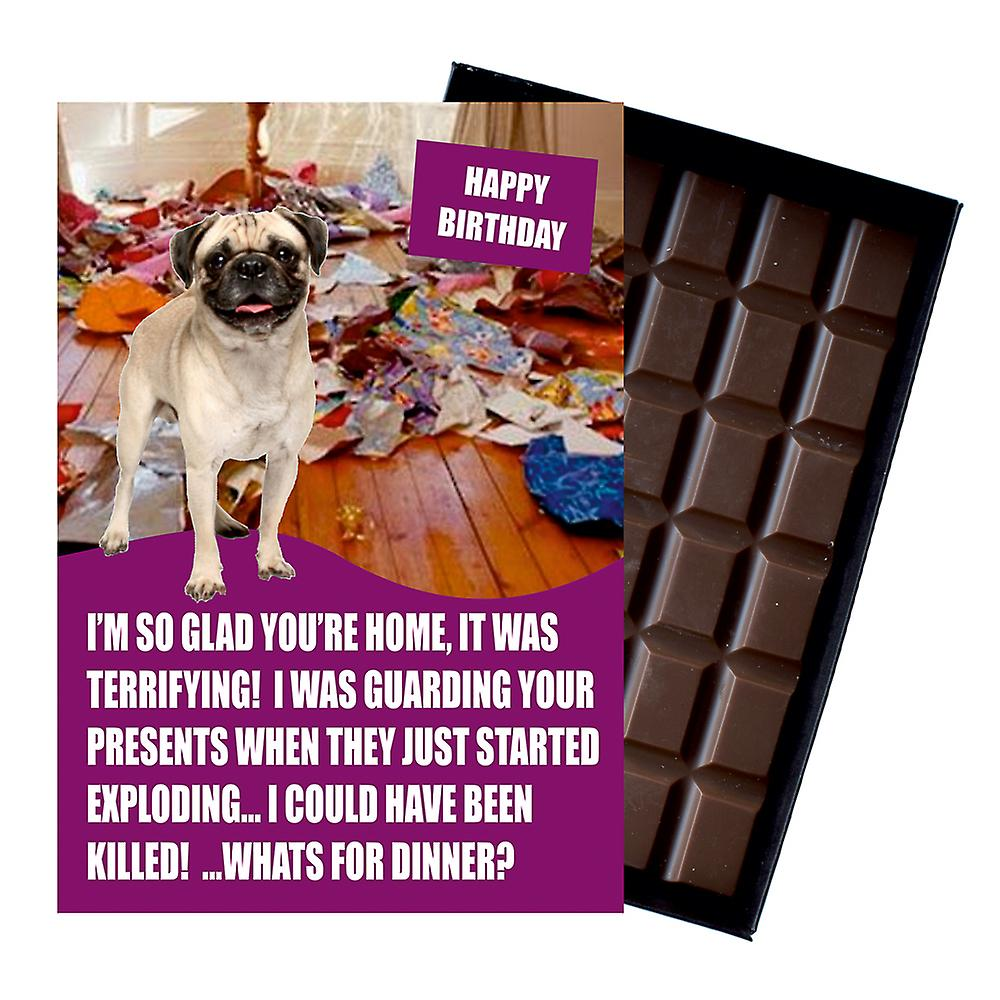 Pug Funny Birthday Gifts For Dog Lover Boxed Chocolate Greeting Card Present