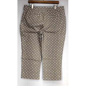 Denim & Co. Pants Printed Twin Stretch Cropped Taupe Beige A262692