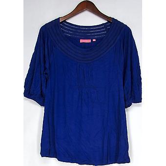 Ava Rose Lattice Scoop Neck Knit Jersey Tunic Lapis Blue Top A93400