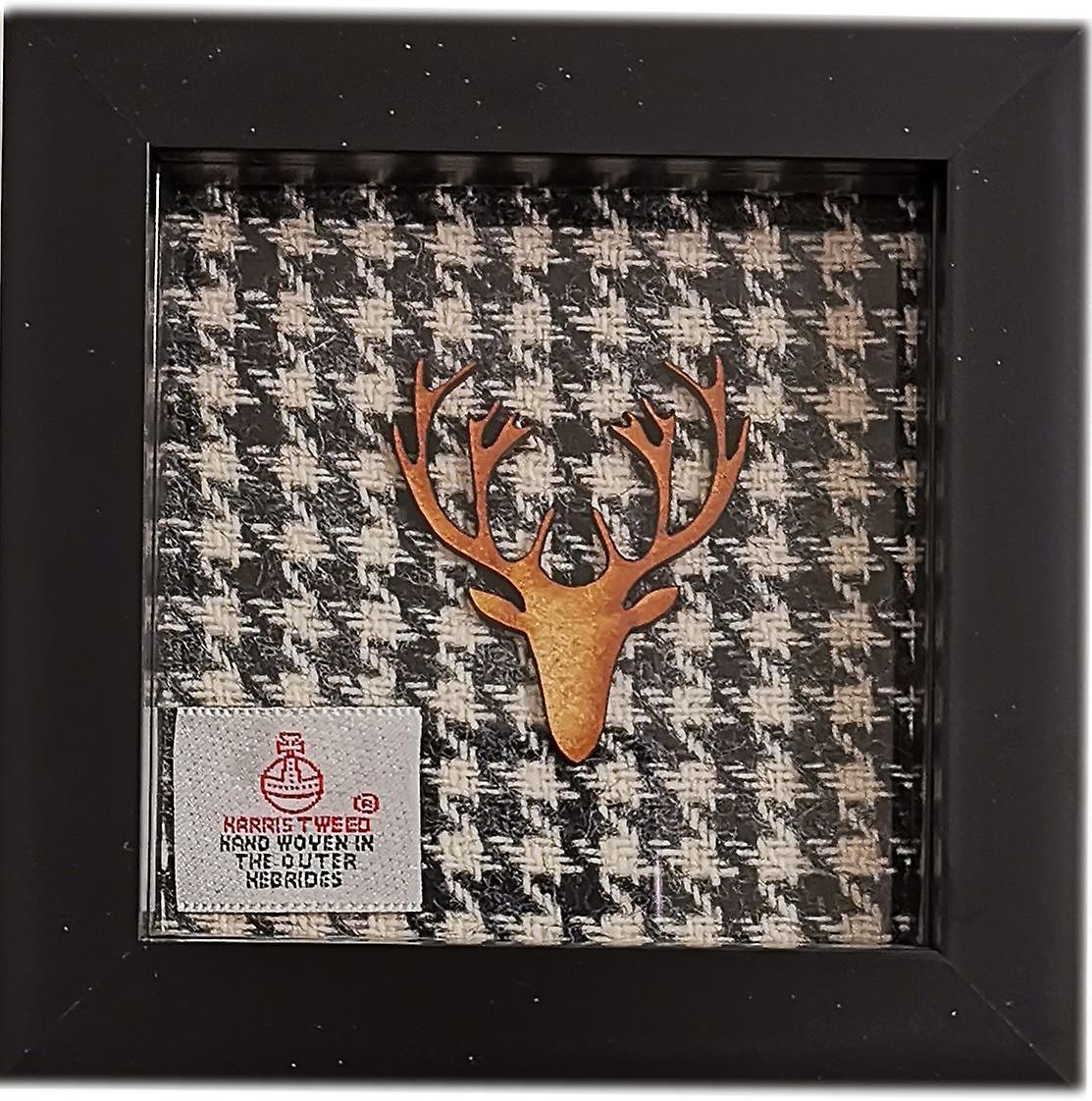 Laura Ann Cards Frame - Black & White Dog Tooth Fabric with Wooden Love, Black Frame
