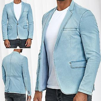 Men's Jean Jacket Denim Blazer Vest Contrast Seam Tailored Fit Casual Business