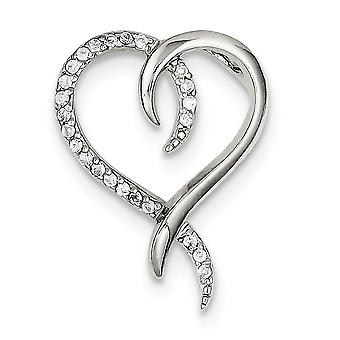 925 Sterling Silver Solid Polished Prong set CZ Cubic Zirconia Simulated Diamond Love Heart Slide Jewelry Gifts for Wome