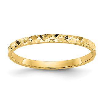 14k keltainen kulta kiinteä kiillotettu sparkle cut design bändi pojille tai tytöille Rengas koko 3.00 - .4 Grammaa