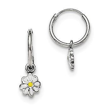 925 Sterling Silver Rh Plated for boys or girls Enameled Daisy Hinged Hoop Earrings - 1.2 Grams