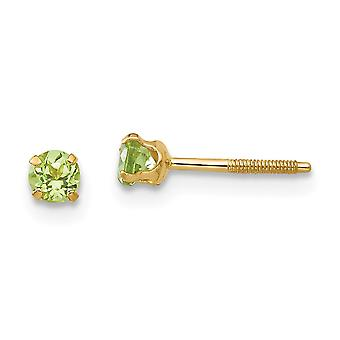 14k Yellow Gold Polished Screw back Post Earrings 3mm Peridot for boys or girls Earrings Measures 4x4mm