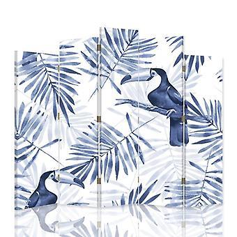 Diviseur de pièce décoratif, 5 panneaux, toile, Toucans bleus
