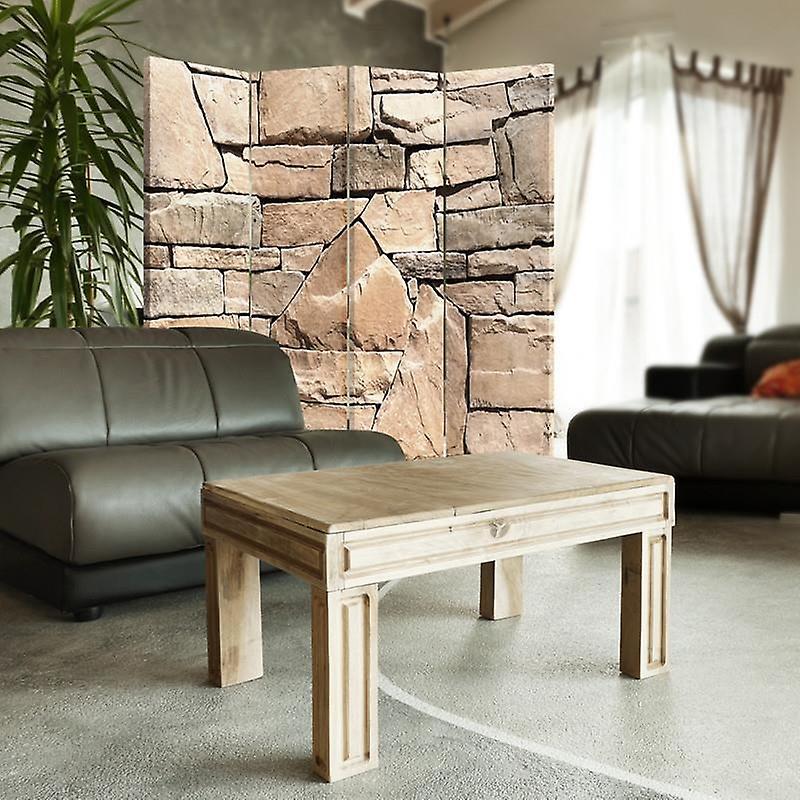 Diviseur de chambre, 4 panneaux, double-face, toile, mur de grès 1