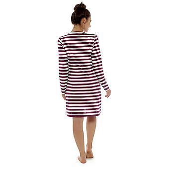 Ladies 100% Cotton Striped Print Nightdress Nighty Sleepwear 16-18 Red