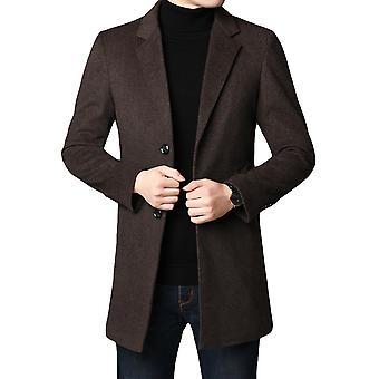 Allthemen Men's Solid Thick Warm Autumn&Winter Wool Overcoat