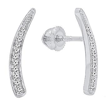 Dazzlingrock Collection 0.15 Carat (ctw) 10K Round White Diamond Ladies Curved Ear Climber Earrings, White Gold