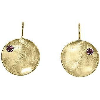 GEMSHINE kvinnors Örhängen i solid 925 silver, guldpläterad eller ros, röd granat