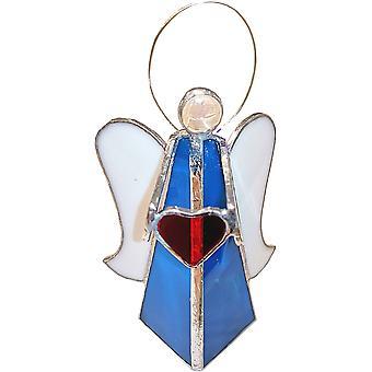 Simmerdim design gebrandschilderd glas engel met hart waxinelicht houder turkoois
